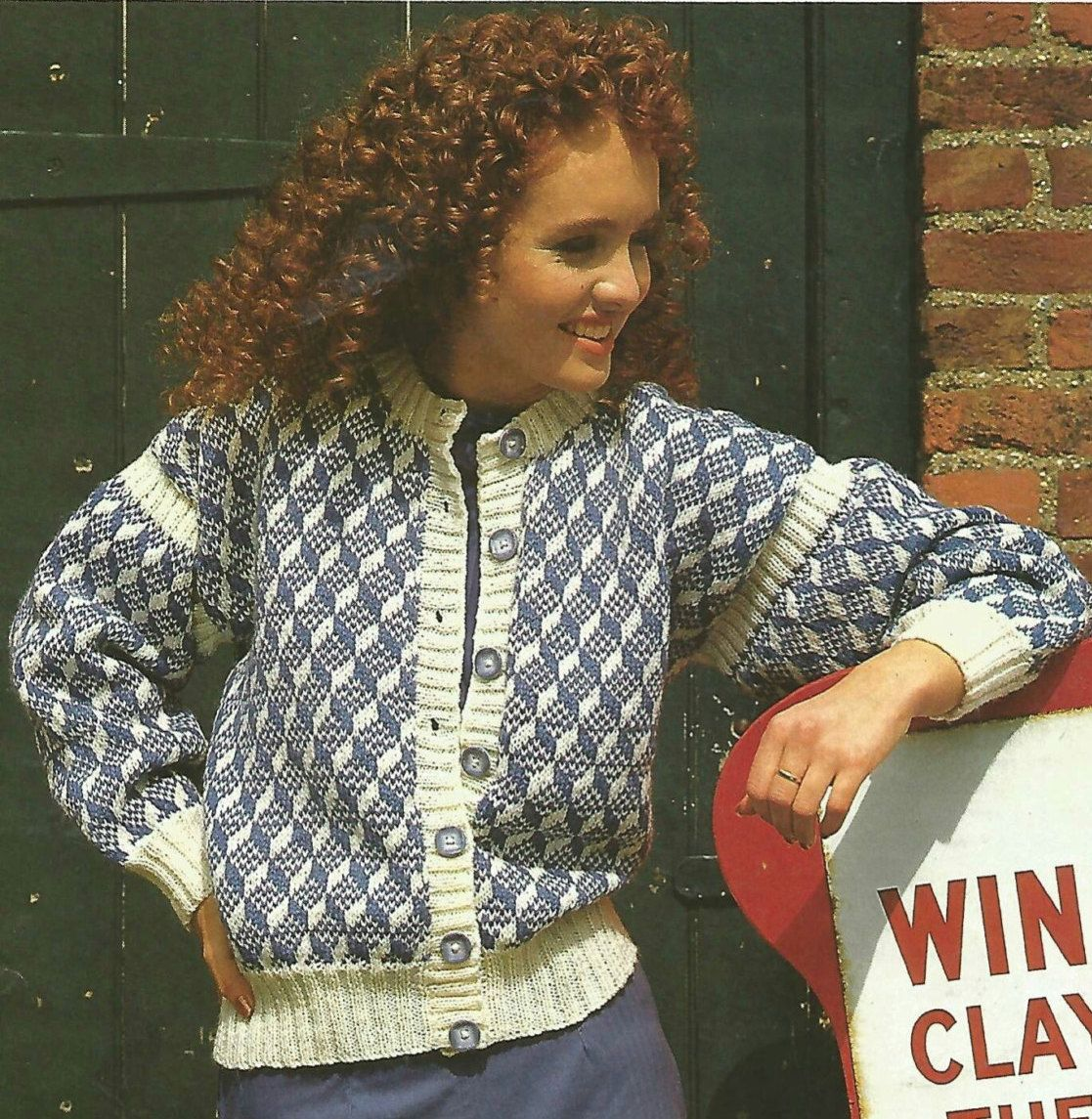 4146e7d15a4008 Knitting Pattern Ladies Woman s Women s Jacket Cardigan DK Worsted 8 Ply to  fit size 34-38in 86-97cm by makenshare on Etsy