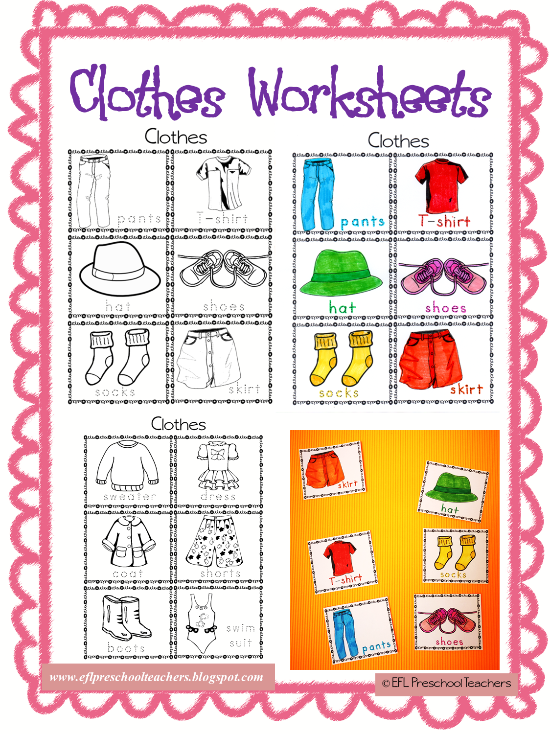 Clothes Worksheets And Flashcards For Esl With Images