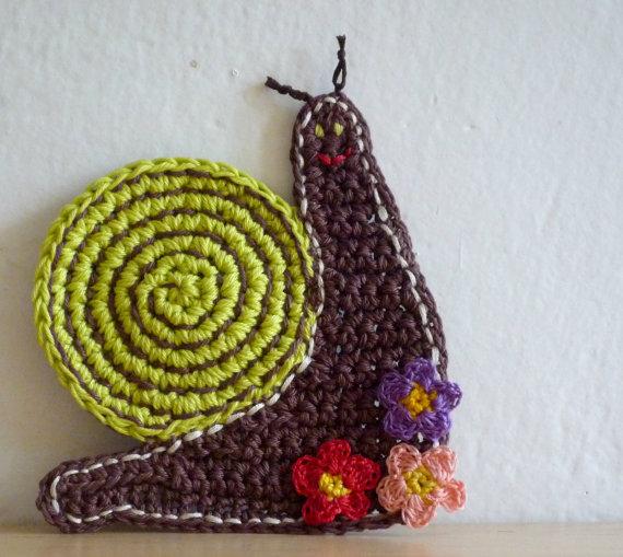 Green Snail Crochet Coasters set of two by MonikaDesign on Etsy,