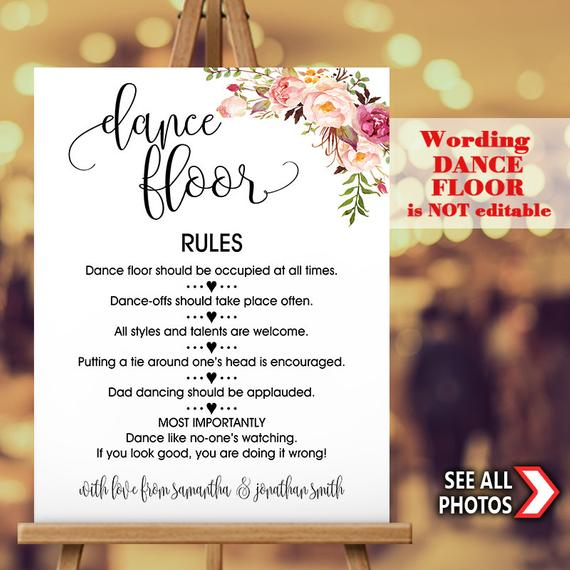 Dance Floor Rules Sign Dance Rules Personalized Wedding Large Sign