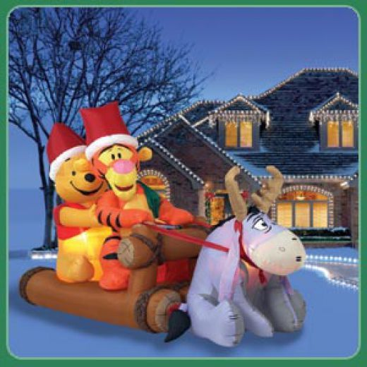 Winnie the Pooh, Tigger and Eeyore outdoor Christmas inflatable - Ideas For Christmas Yard Decorations Christmas Pinterest
