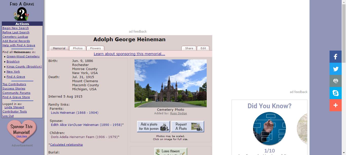 Adolph Heineman (1886 1915) Find A Grave