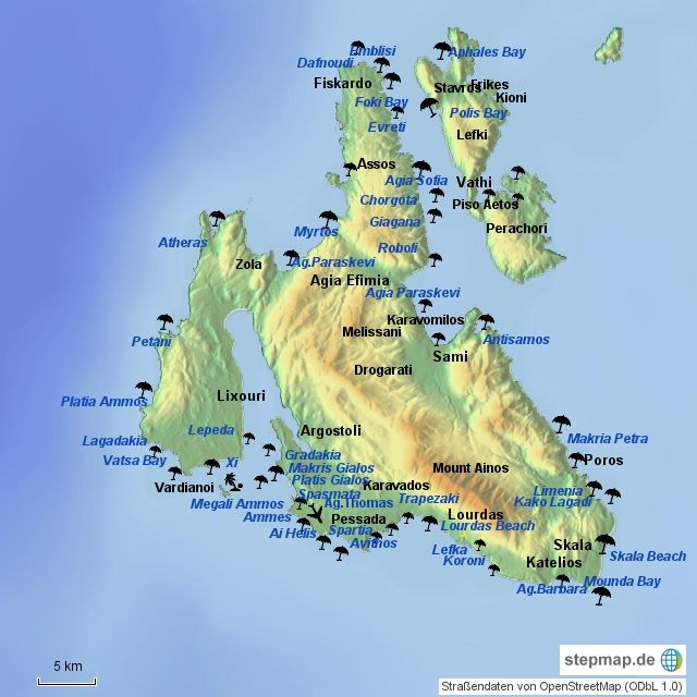 Kefalonia Map With Beaches Greece Islands Antisamos Beach