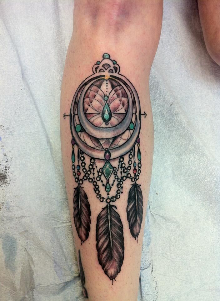 Breast Cancer Dream Catcher Tattoo Dream catcher on my shin for my mom She was just diagnosed with 32