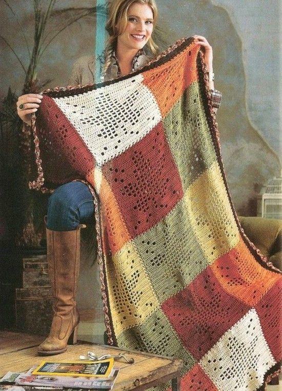 Blätter Decke häkeln - crochet blanket | Häkeln Decken & Kissen ...