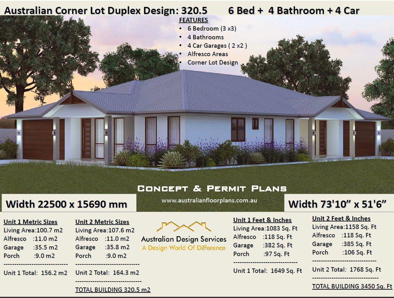 Duplex House Plans 6 Bedrooms Corner Lot Duplex House Plans Etsy Duplex Design Duplex Floor Plans Duplex House