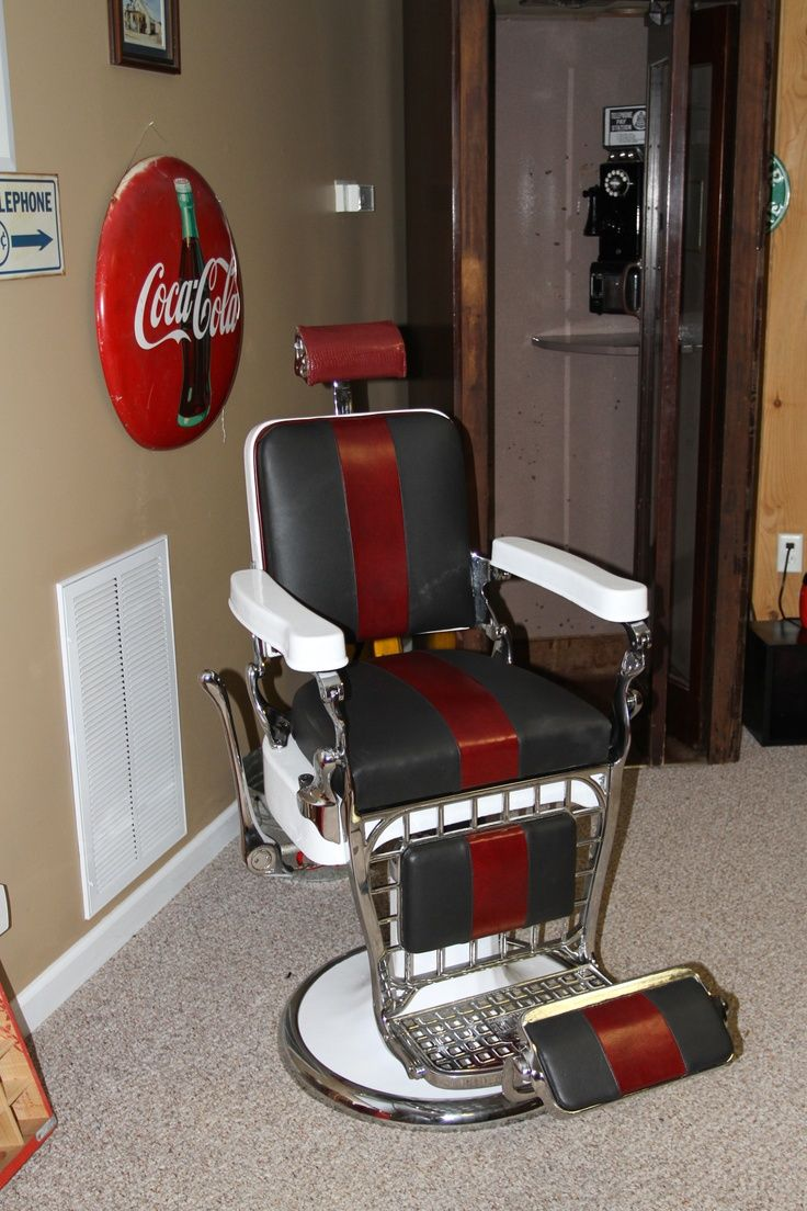 Looks Like A Barber Chair, Coke Sign And Back In The Day Telephone Booth In  A Man Cave Basement.