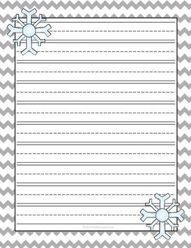 Free Winter Snow Lined Writing Paper Larger Lines For Little