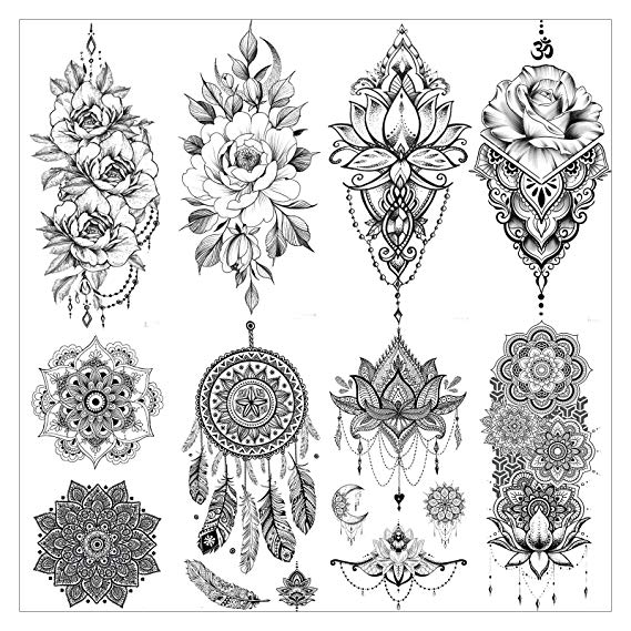 Amazon Com Vantaty 8 Sheets Lace Large Lotus Flower Temporary Tattoo Stickers Fake Je In 2020 Flower Leg Tattoos Mandala Tattoo Sleeve Women Sleeve Tattoos For Women