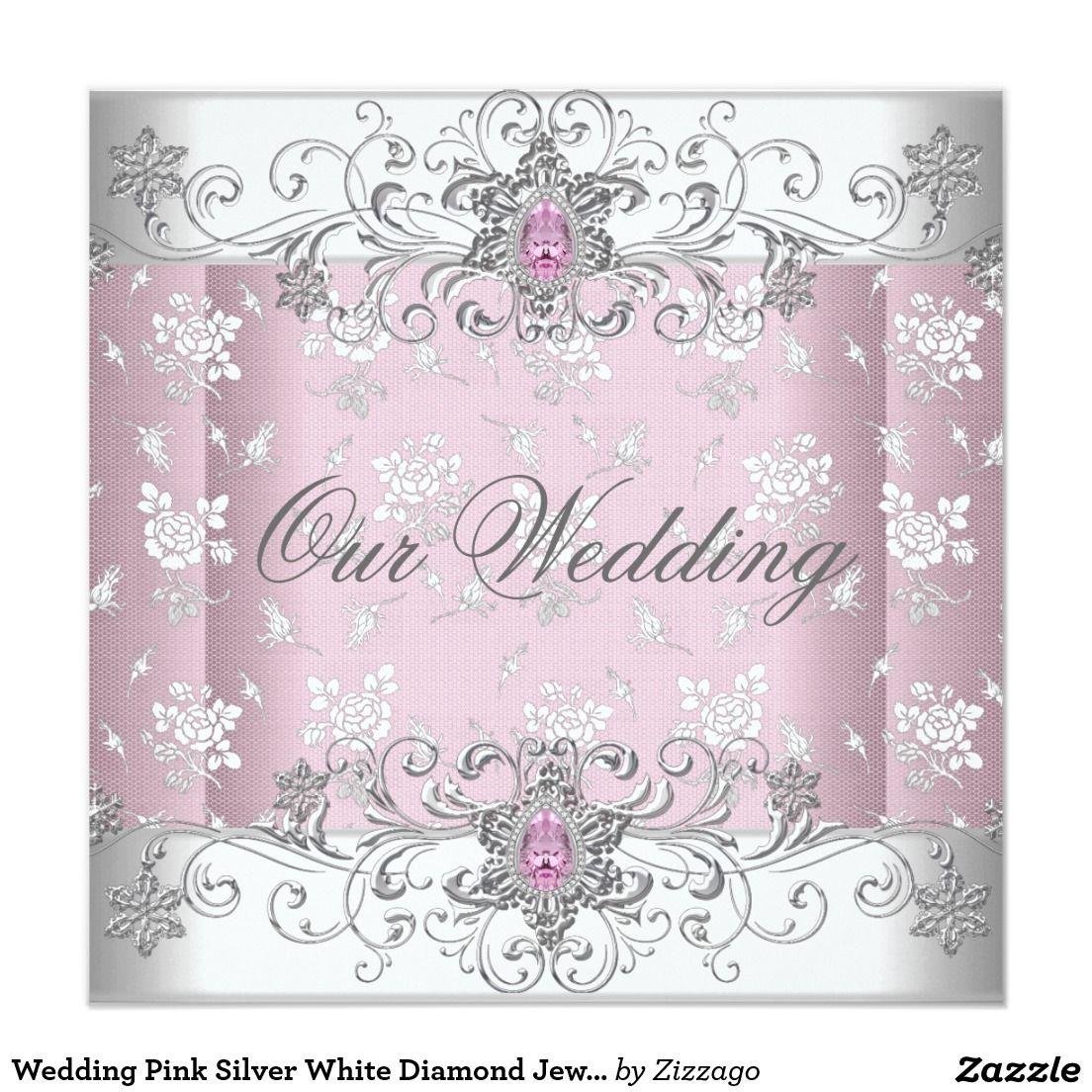 Wedding Pink Silver White Diamond Jewel Lace Card | Lace weddings ...