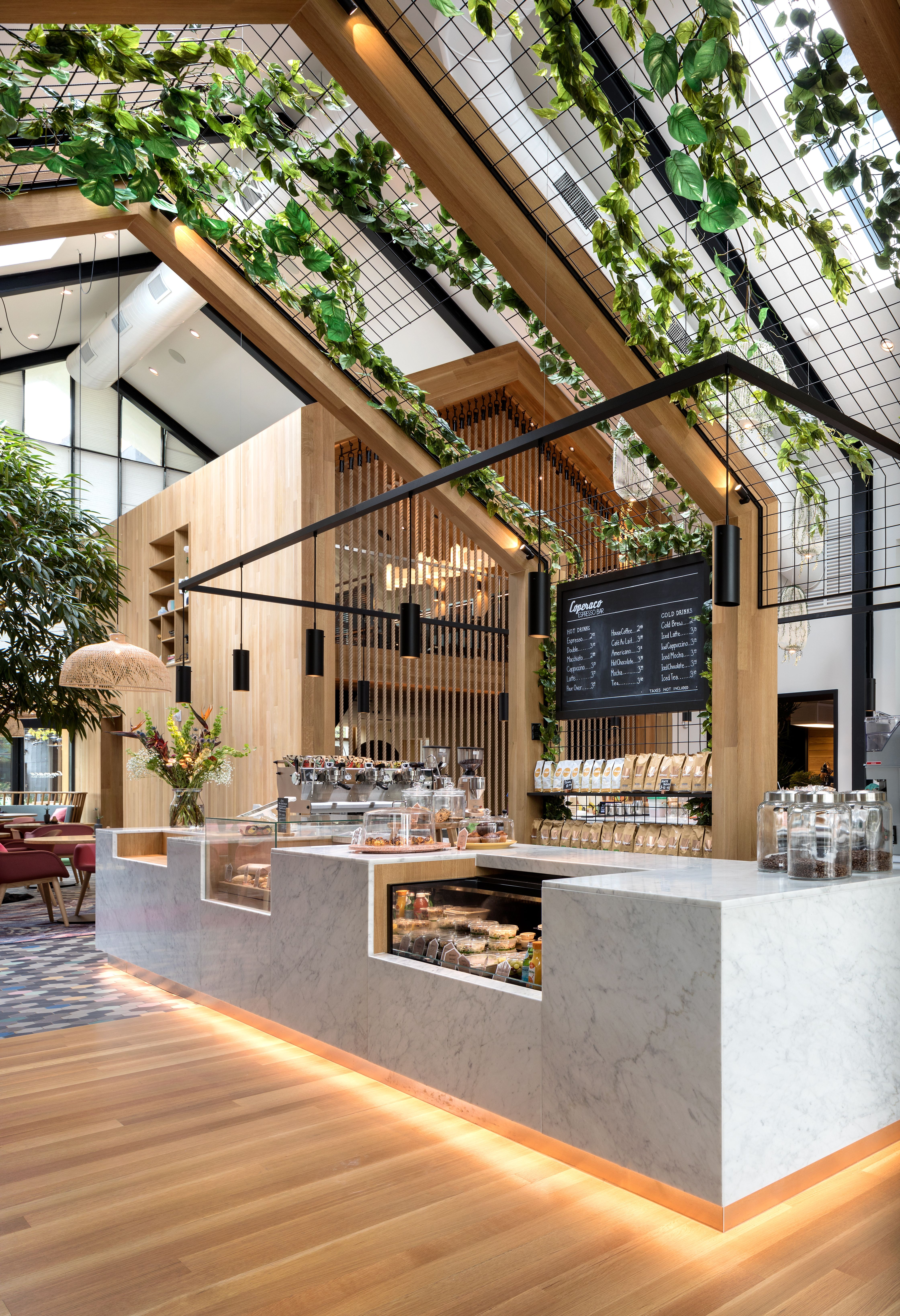 Photo 6 Of 7 In Boutique Coffee Roaster Coperaco S First Cafe Holds A Modern Tree House Restaurant Design Coffee Shops Interior