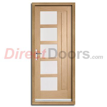 Lucca External Oak Door And Frame Set With Obscure Double Glazing