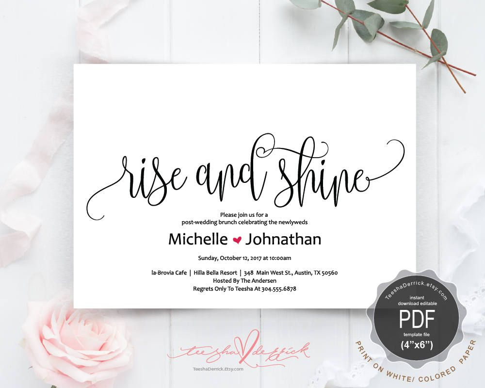Post Wedding Newlywed Brunch Invitation Card Pdf Editable Template