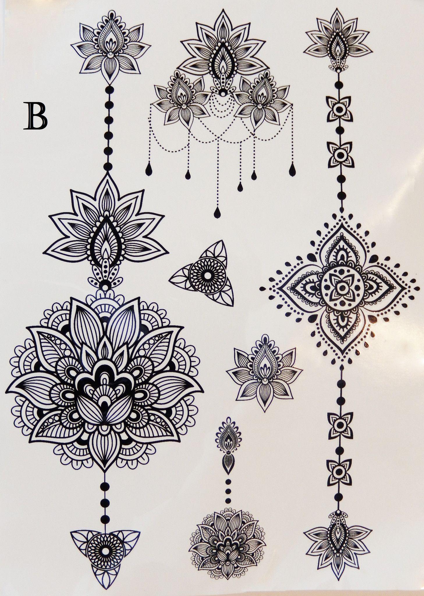 Henna Tattoo Designs Black: Metallic Or Black Henna Temporary Flash Tattoos