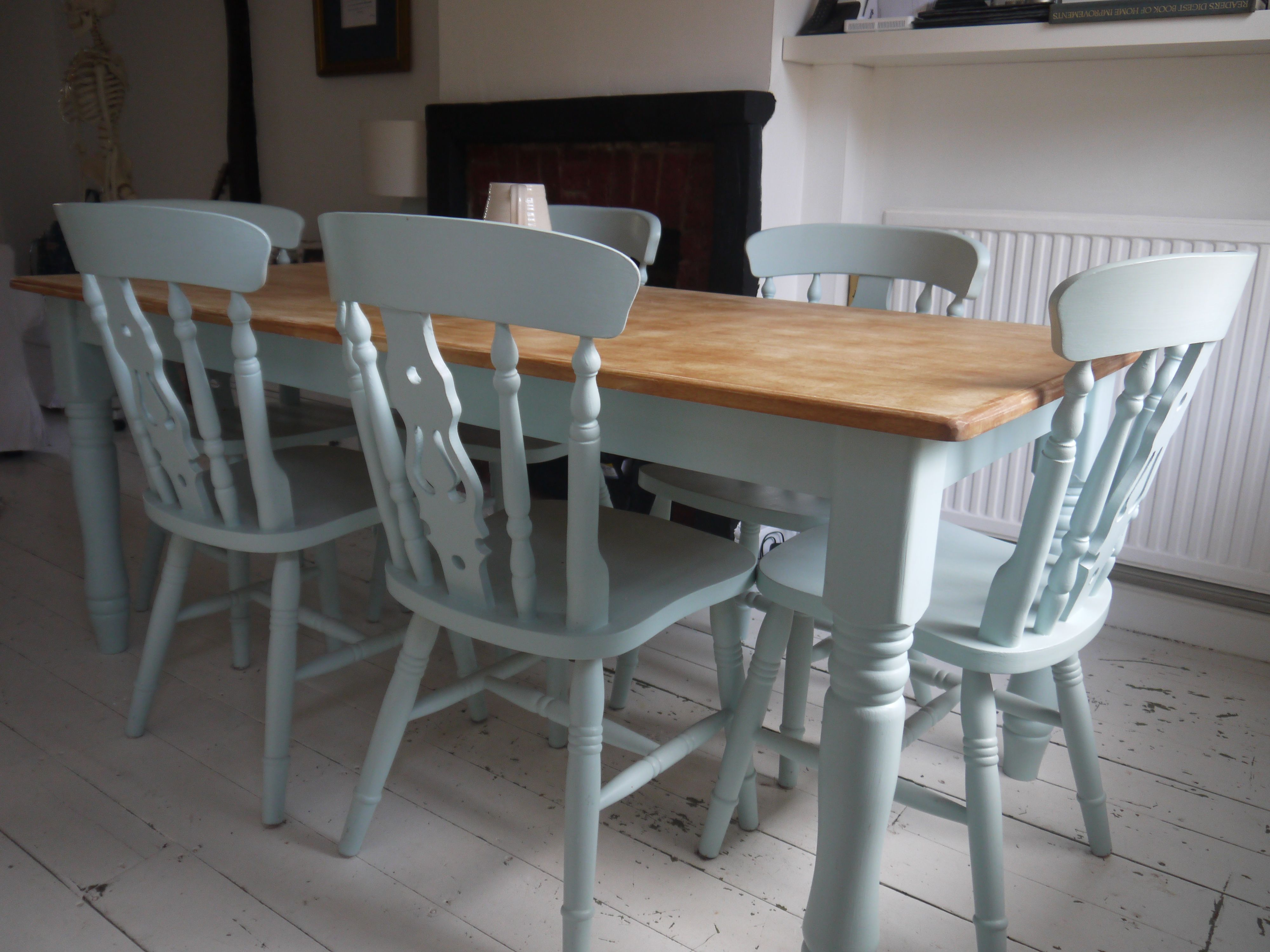 blue kitchen chairs driftwood table and laura ashley duck egg top needs white washing with chalk paint