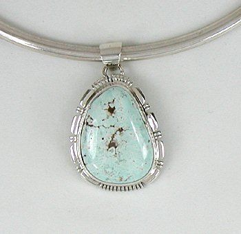 Authentic Navajo  Sterling Silver Dry Creek Turquoise pendant