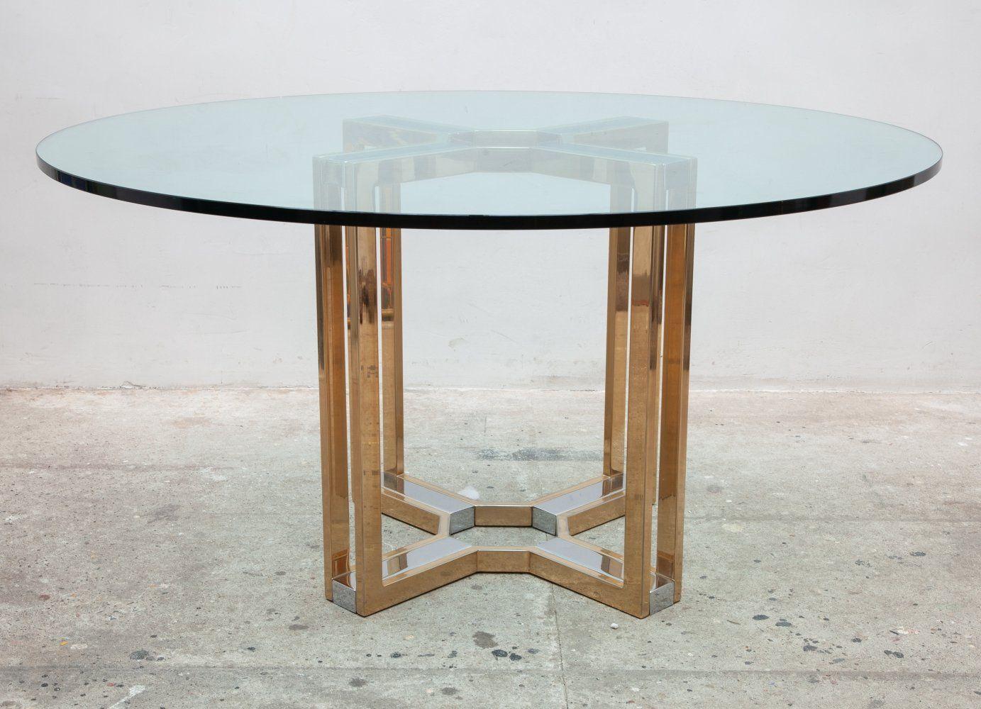 For sale romeo rega gold chrome round glass top centre