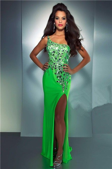 one shoulder see through back long neon green chiffon sequin