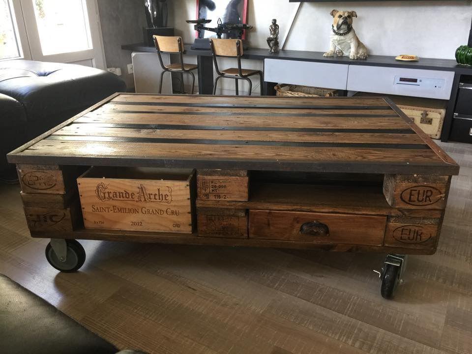 Table Basse En Palettes Indus Table Basse Palette Table Basse Style Industriel Table Basse