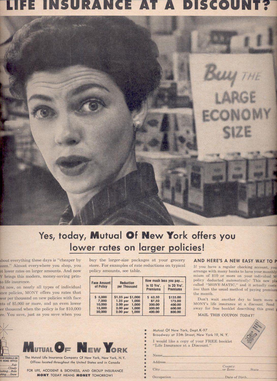 Sept 17 1957 Mutual Of New York Insurance Magazine Ad 3375