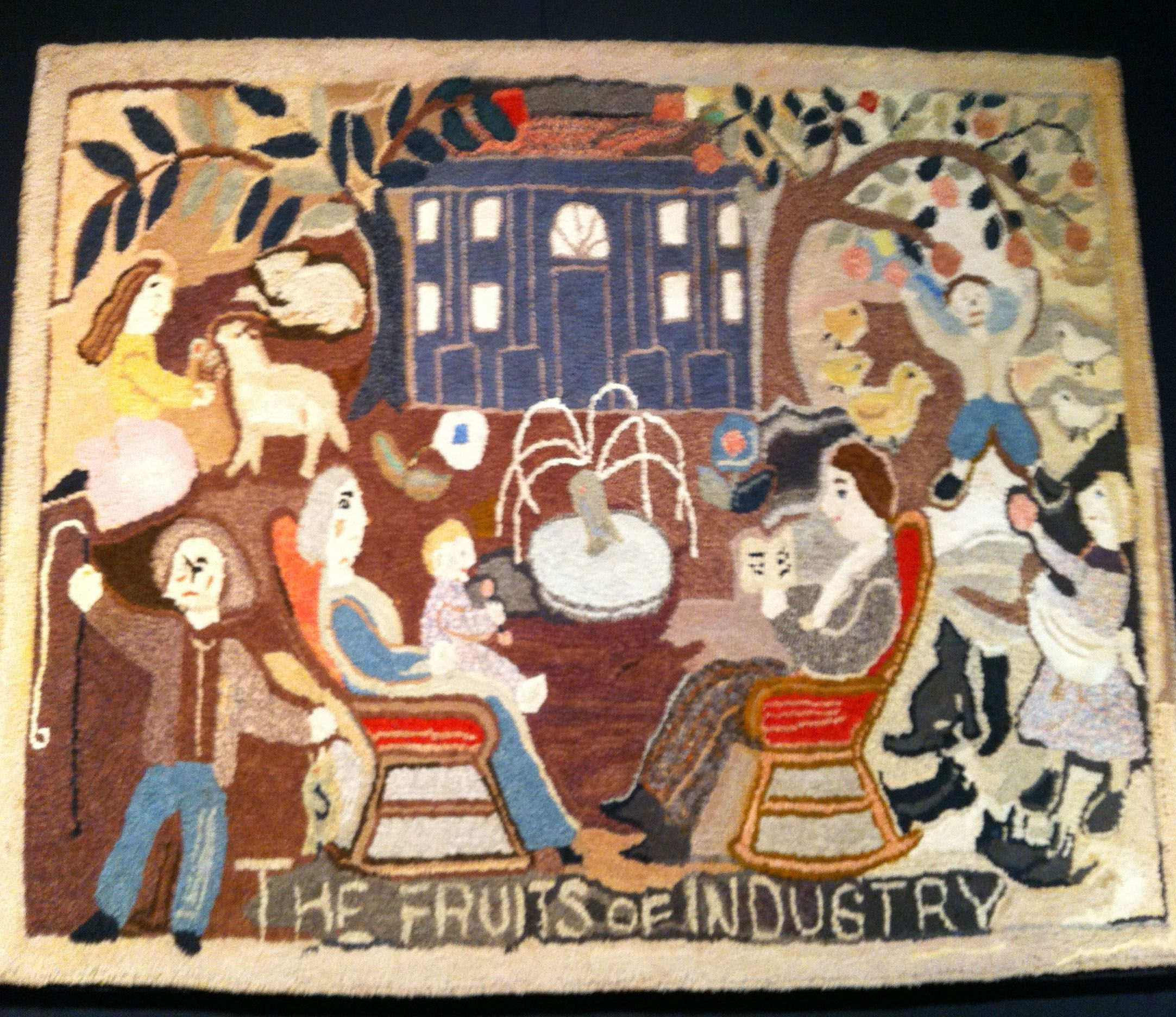 "An American hooked rug called ""The Fruits of Industry"" c.1925"