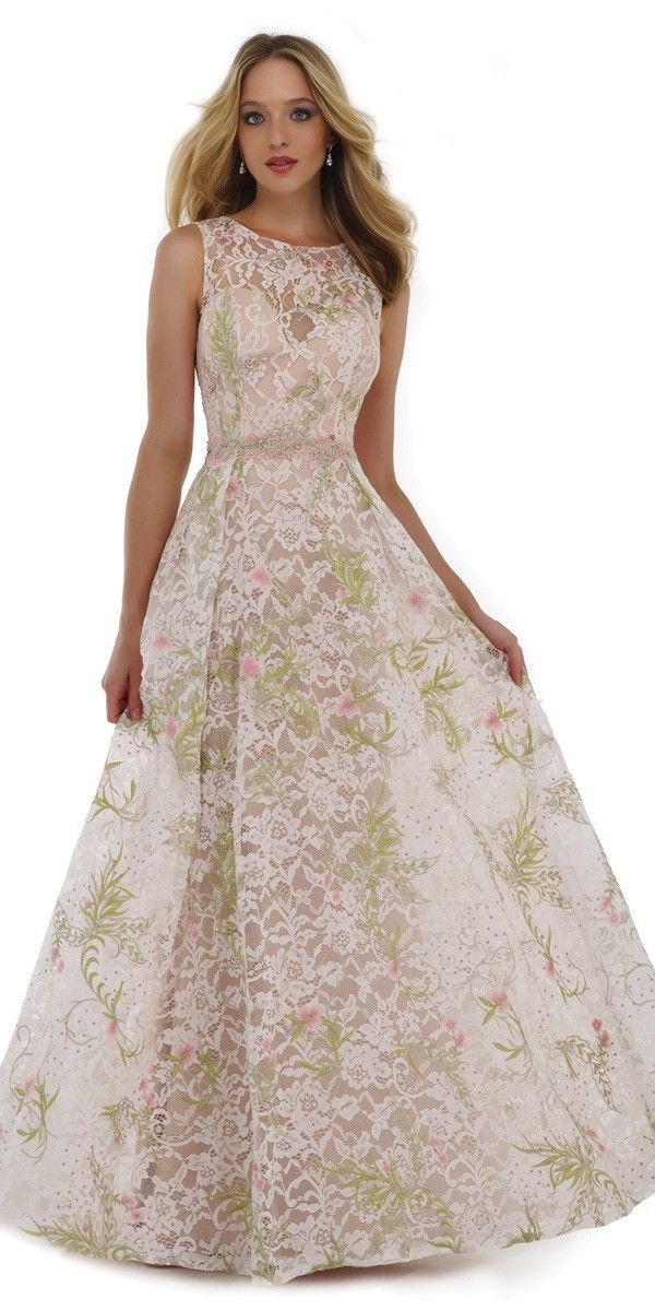 High Neck Lace Embroidered A-Line Dress - Morrell Maxie - 15471 - $498.00