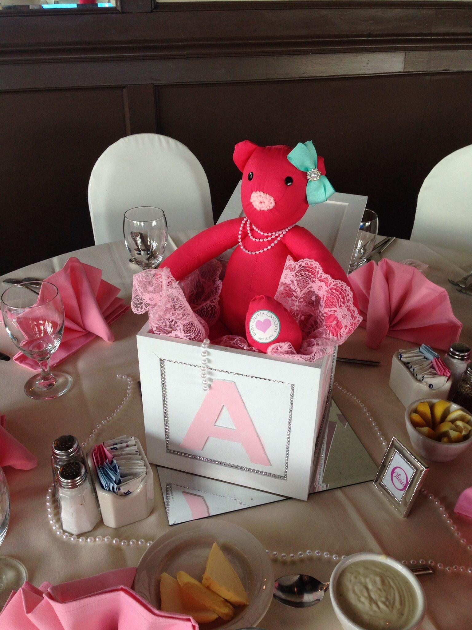 ABC block teddy bear centerpiece baby shower | Teddy Bear Girl Baby ...