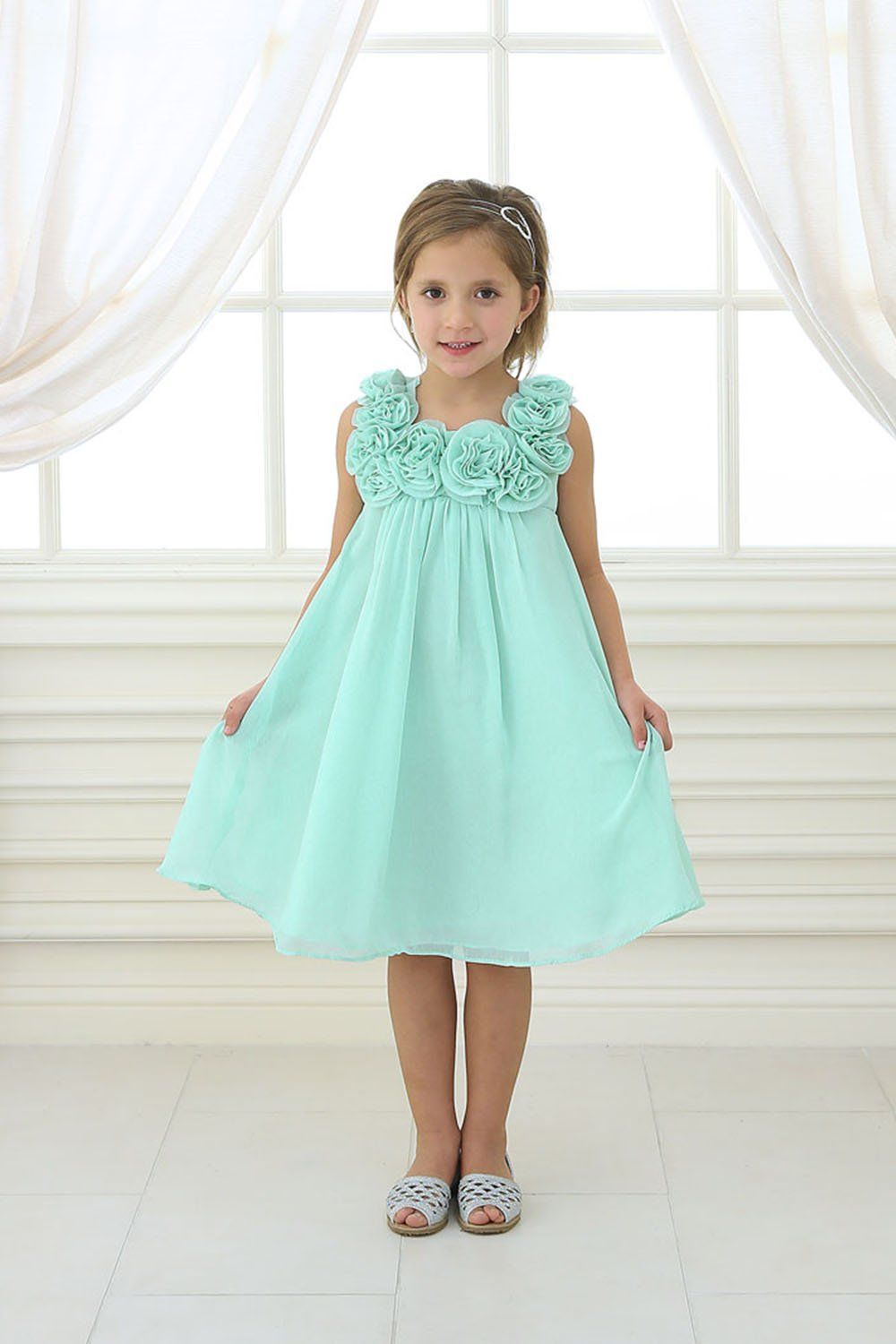 Aqua Mint Chiffon Short Flower Girl Dress | May 19, 2018 | Pinterest ...