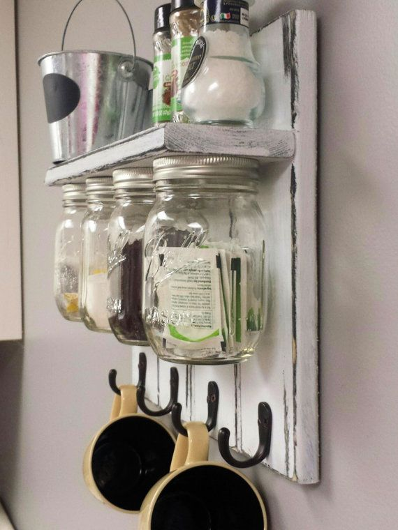 Mason Jar Organizer Kitchen Set With Shelf And By Recycledtrees