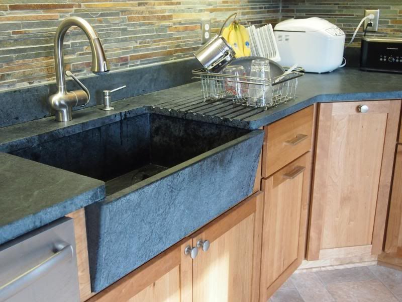 Natural Cherry Cabinets, Soapstone Sink And Countertops, Slate Backsplash