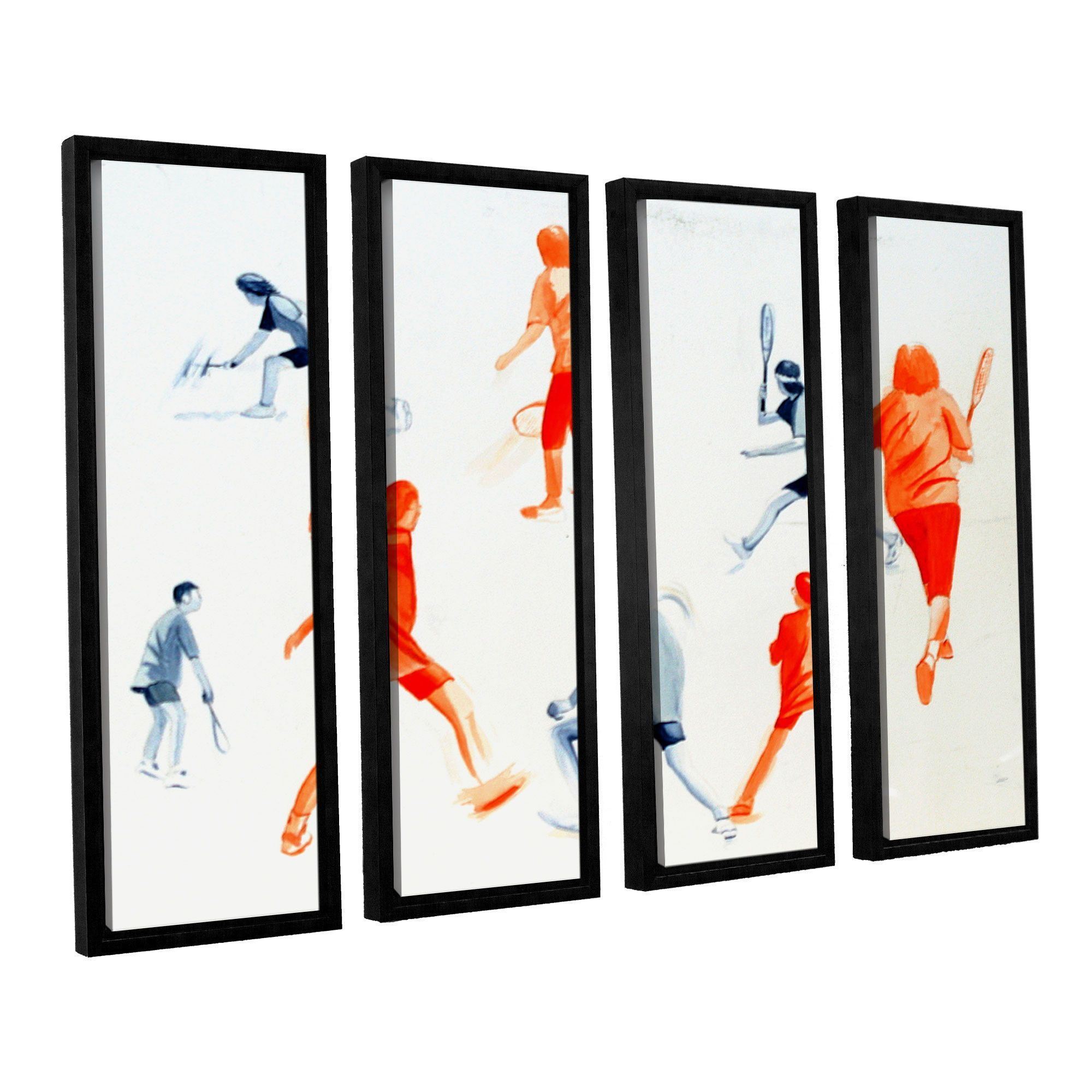 Swuahs Players by Lindsey Janich 4 Piece Floater Framed Canvas Set