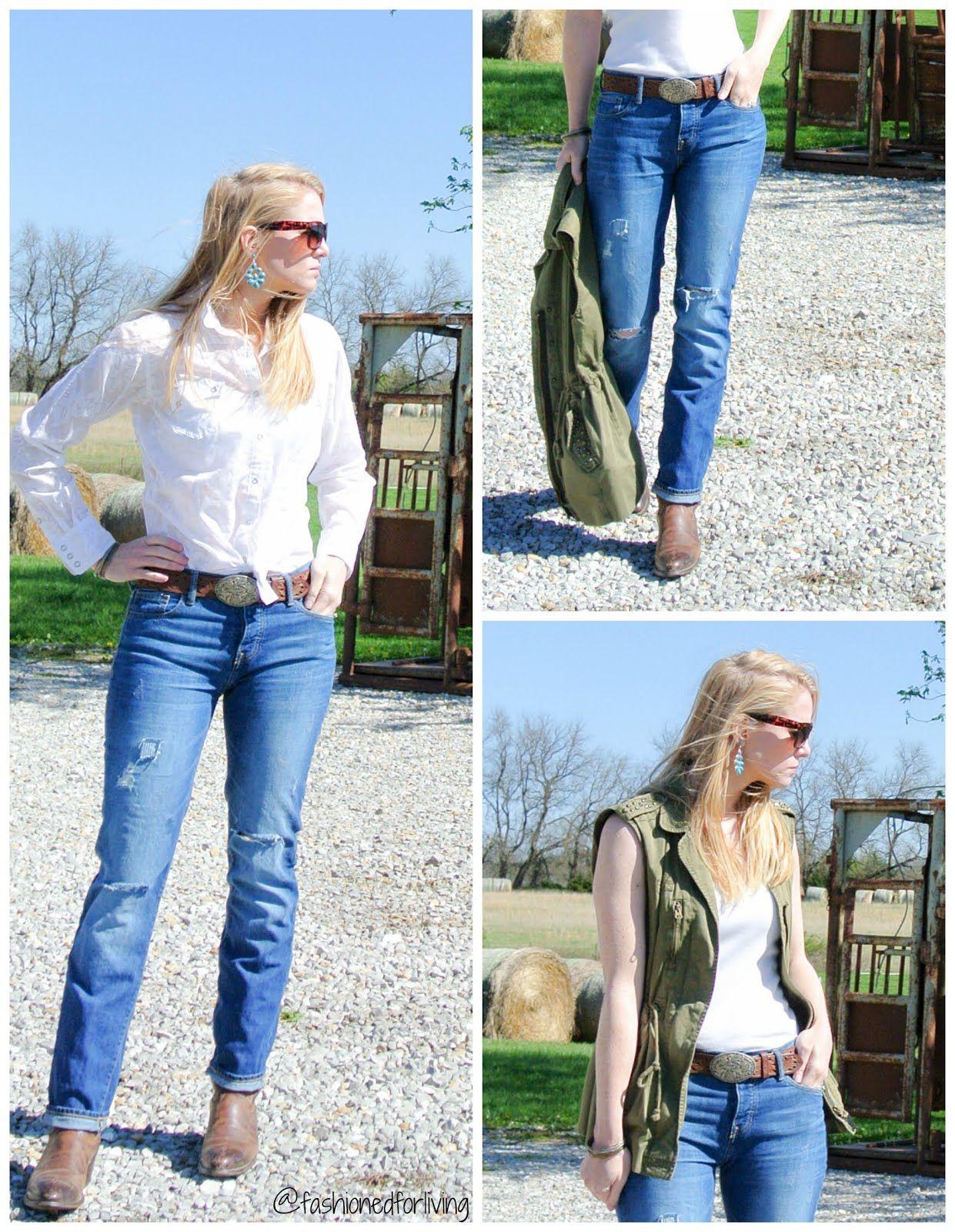 ffaacf43c8 cowboy boots outfit. boyfriend jeans. 3 simple ways. utility vest ...