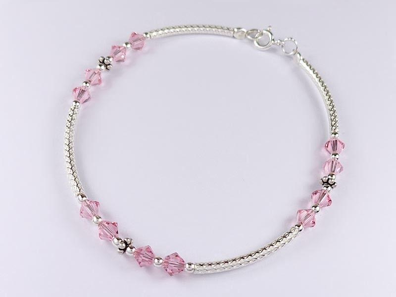 Pink crystal glass beads bracelet