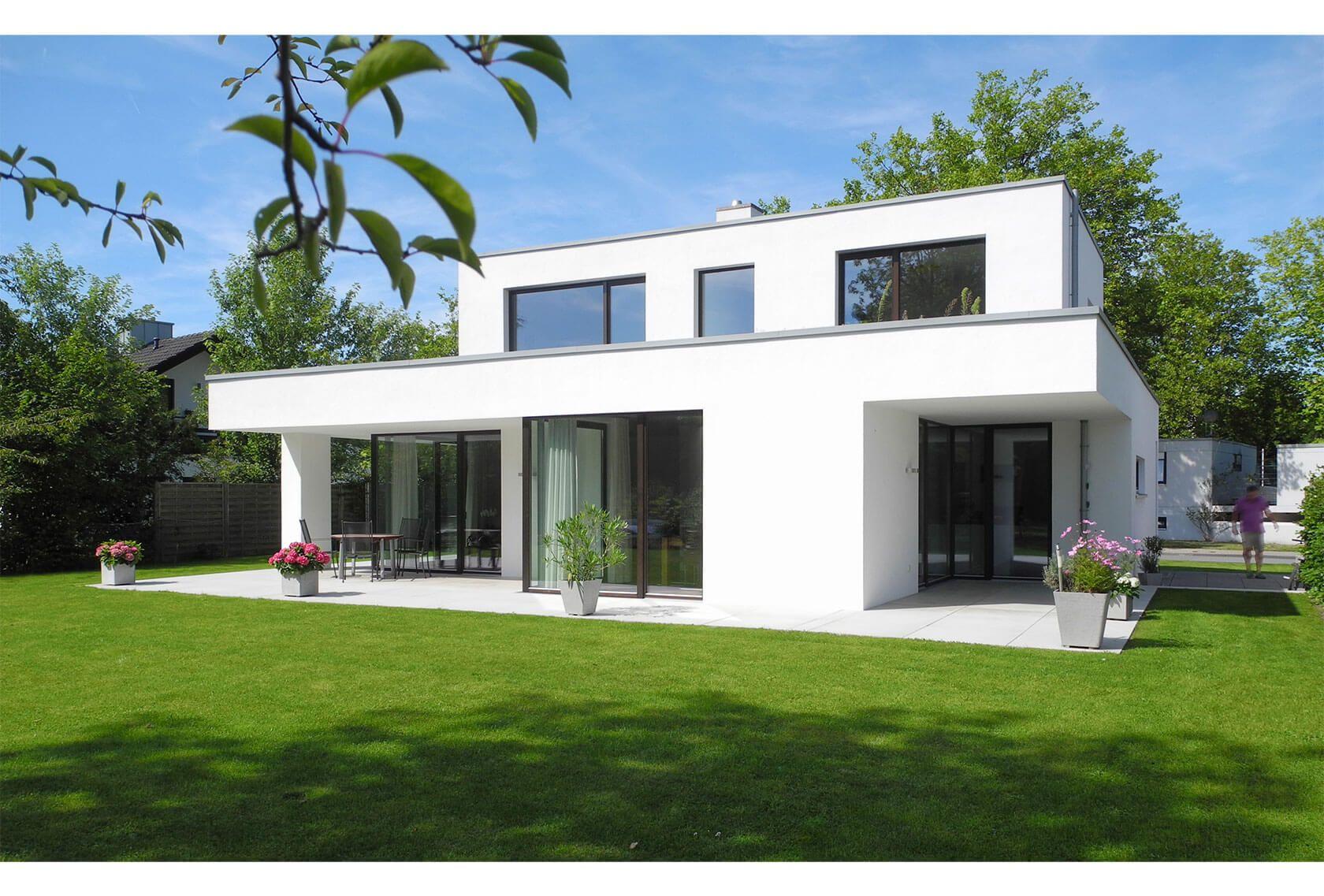 Modernes Haus, Putzfassade, Staffelgeschoss, Rheda-Wiedenbrück ...