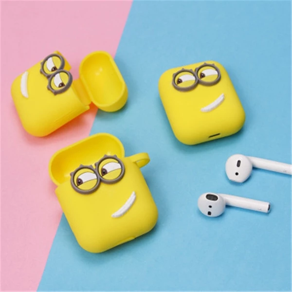 Cute Yellow Silicone Earphone Case For Apple Airpods I7 I10 Tws Bluetooth Headphone Case Earphone Accessories For Gifts Earbuds Case Earphone Case Wireless Headphones