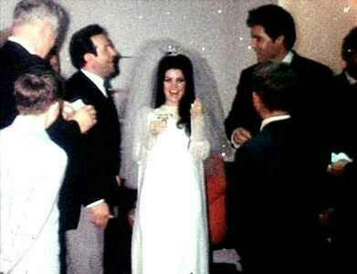 Elvis And Priscilla S Wedding C 1967 Laughing About Joe Giving A Kiss