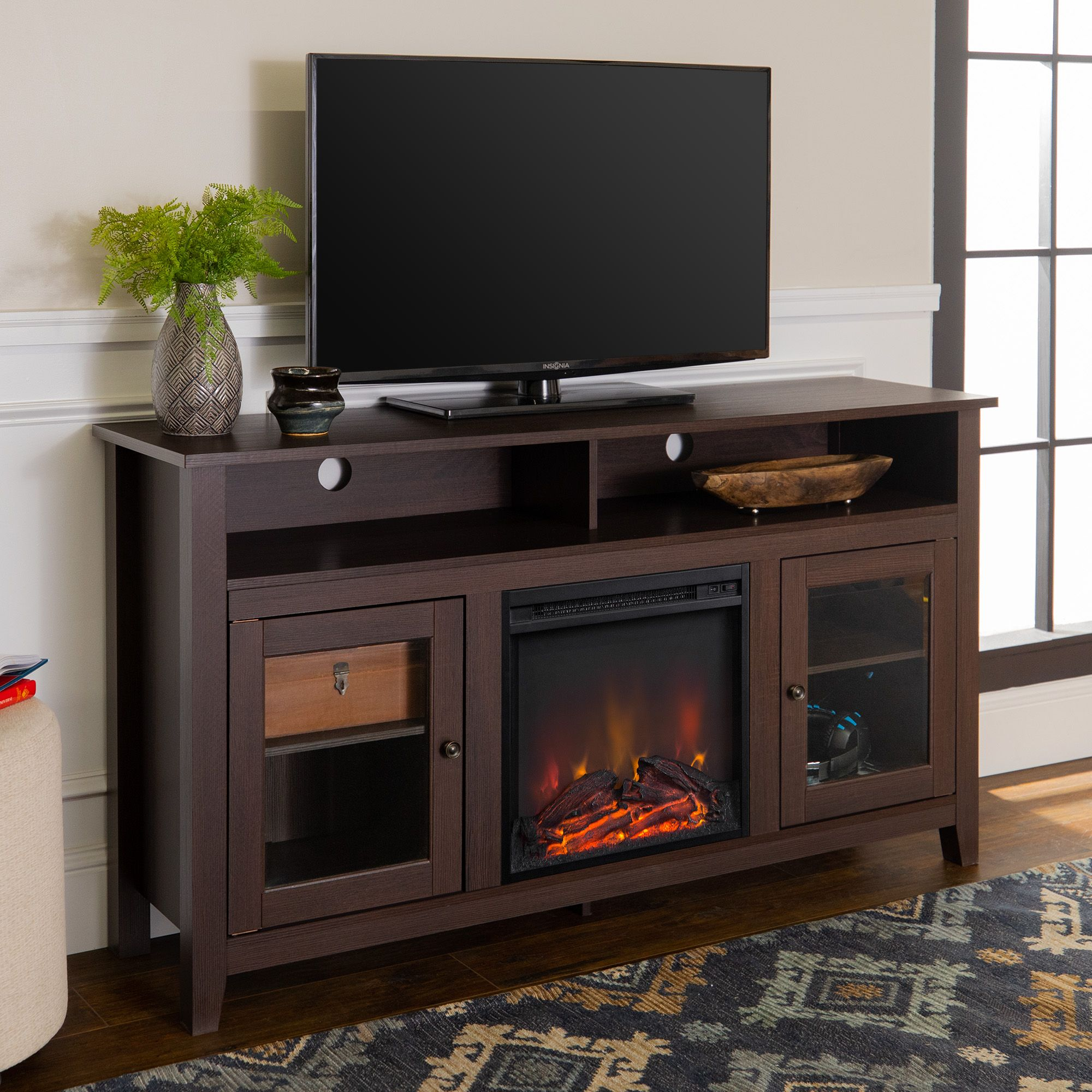 Walker Edison Tall Fireplace Tv Stand For Tv S Up To 64