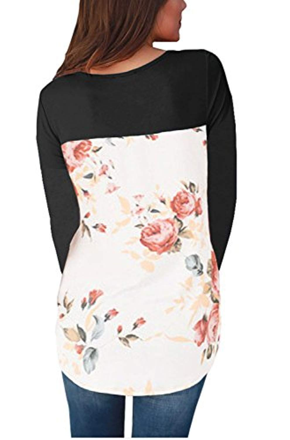 884e9d9196 Women s Casual Floral Print Back Long Sleeve Rounk Neck Blouse Tops     Be  sure to check out this awesome product. (This is an affiliate link)   womentees