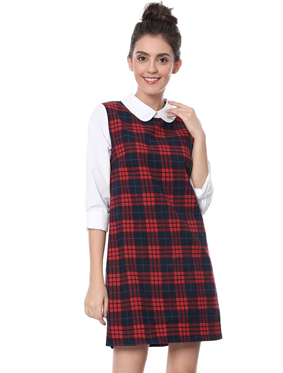 3ce5a77995643f Allegra K Women's Contrast Peter Pan Collar Long Sleeve Shift Plaid Dress  at Amazon Women's Clothing store: