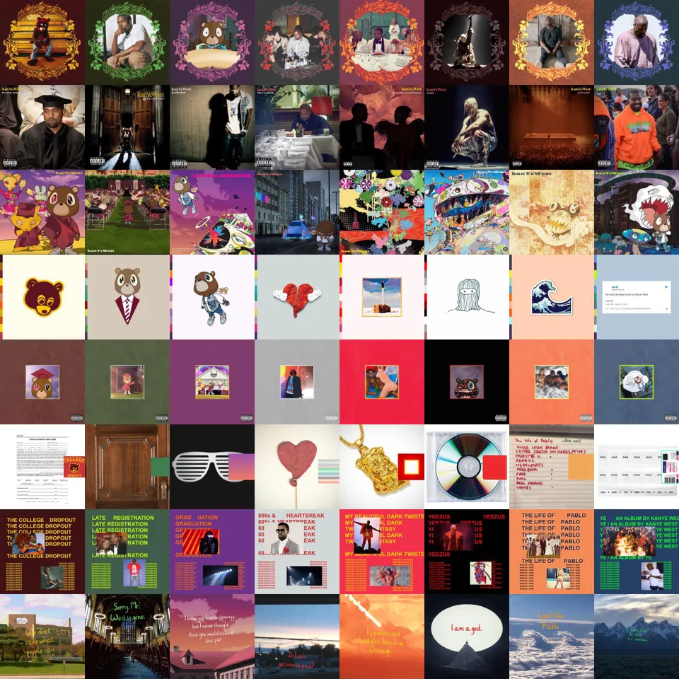 Every Kanye Album In The Others Album Art Style This Is Beautiful Kanye In 2020 Kanye West Tattoo Kanye West Albums Art Collage Wall