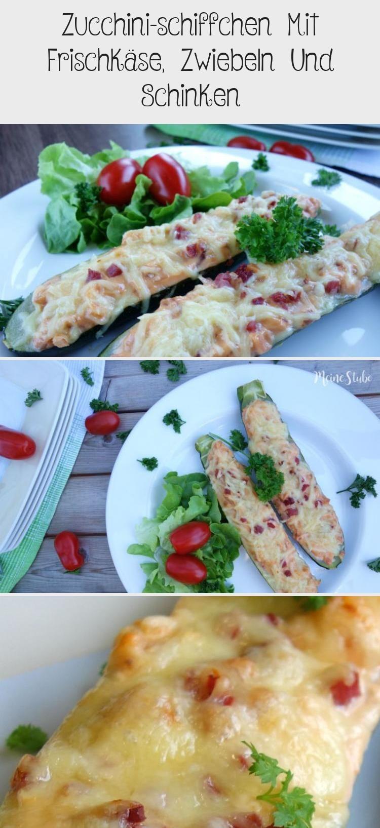 Zucchinischiffchen Mit Frischkäse Zwiebeln Und Schinken Rezept für ZucchiniSchiffchen lecker mit Frischkäse Zwiebeln und Schinken und Käse überba...