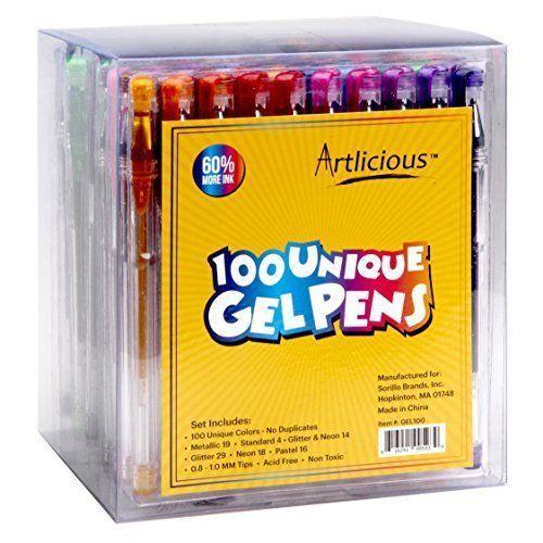 Artlicious - ULTIMATE 100 Unique Gel Pens Set - No Duplicates - 60% More Ink - & #NotApplicable