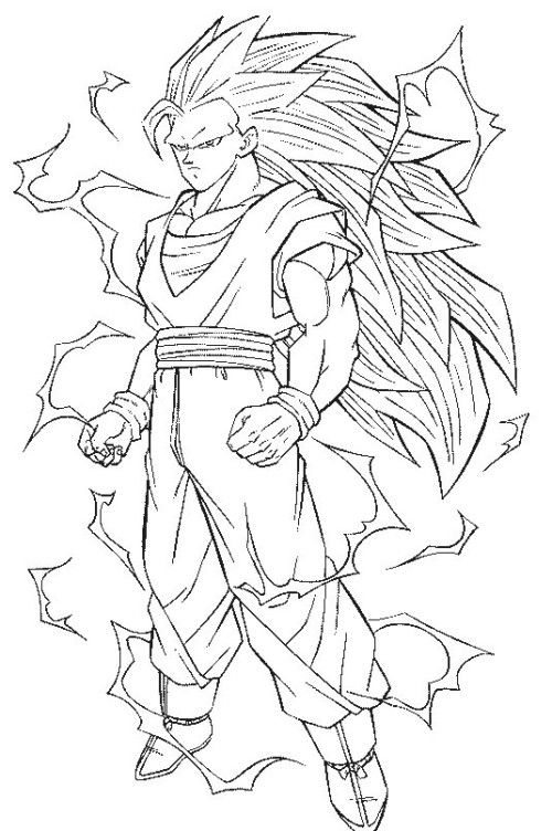 dragon ball z coloring pages to print | printable coloring pages ... - Super Saiyan Goku Coloring Pages