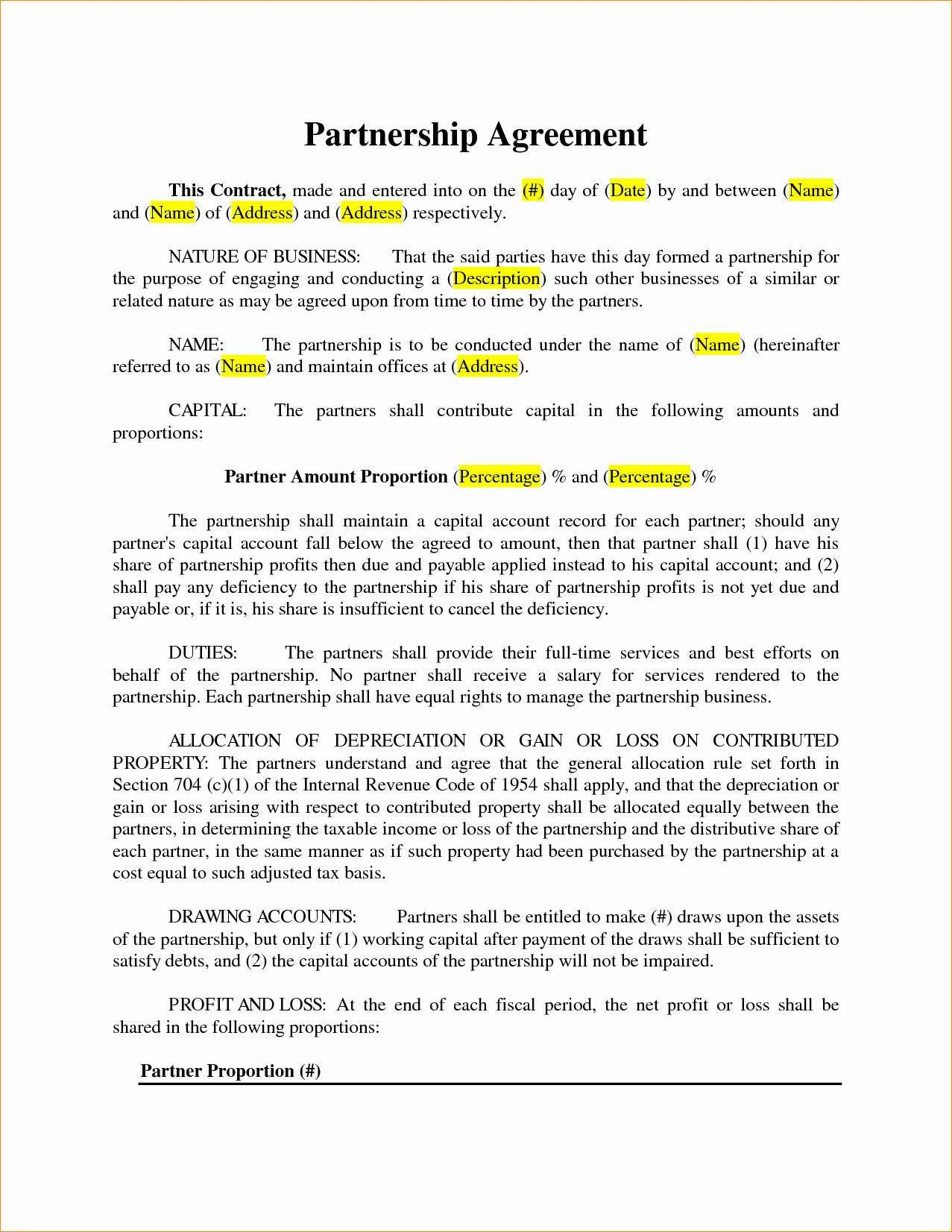 23 Small Business Partnership Agreement Template Business