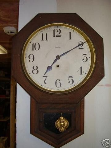 Antique 1890 Waterbury Oak 12 Inch Drop Octagon Schoolhouse Wall Clock Made By Waterbury Marked On Dial And On Moveme Clock Wall Clock How To Make Wall Clock