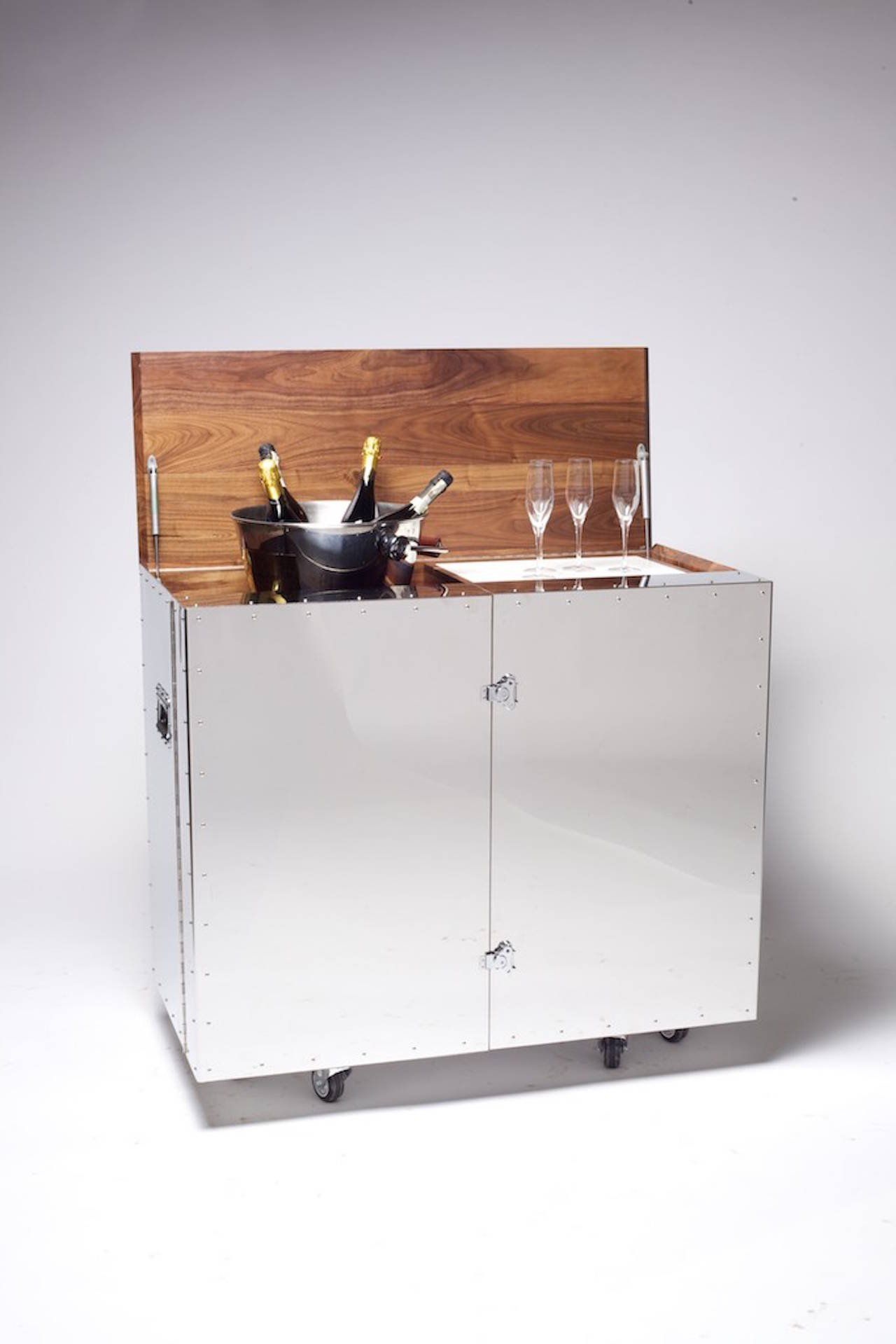 Mobile Bar And Wine Cabinet In Walnut And Stainless Steel