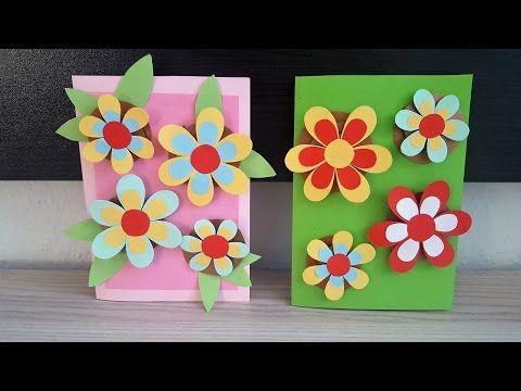 Geburtstagskarte mit 3D Blumen basteln\/DIY Handmade Crafts - blumen basteln