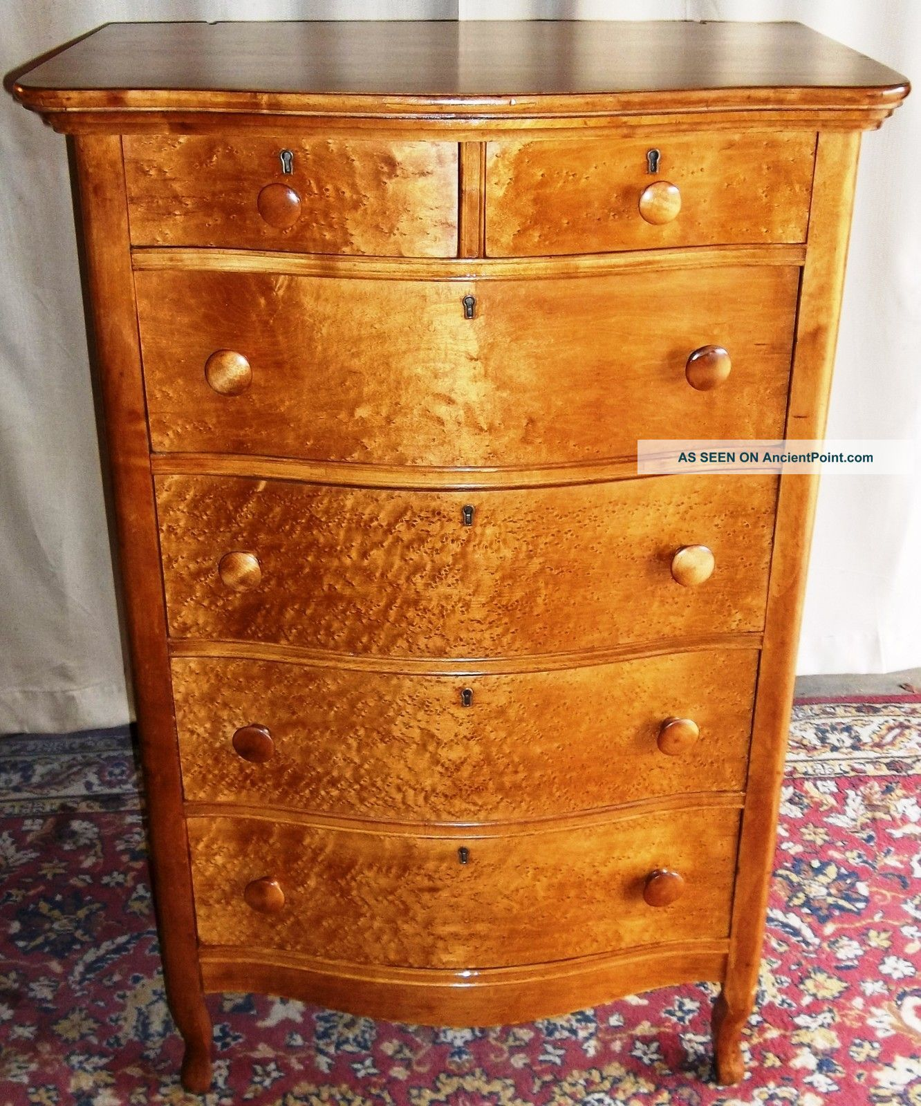 Antique Birds Eye Maple Tall 2 Over 4 Bowed Drawer Dresser 1900 1950