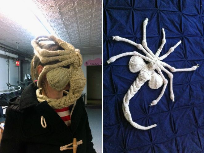 Craziest Etsy Finds Knitted Facehugger My Mentions Pinterest Etsy