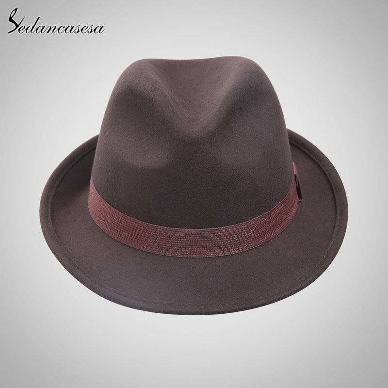 79c480d0eabe2 England Style Christmas Fedora Jazz Hat Men Women 100% Wool Female Male  Trilby Cap Hats with ribbon Oh just take a look at this!
